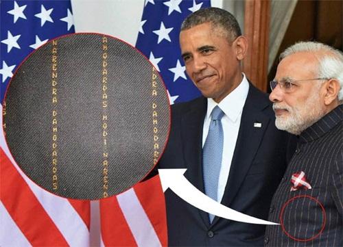 Những dòng tên trên áo thủ tướng Ấn Độ. Ảnh: