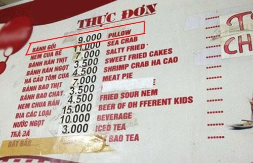 Bánh gối này không biết dùng để ngủ hay để ăn - thảm họa tiếng Anh, chỉ có ở Việt Nam