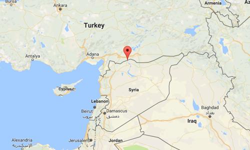 Thị trấn Jarablus của Syria, biên giới với Thổ Nhĩ Kỳ. Đồ họa: Google maps.
