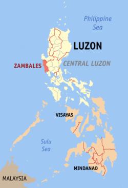 Vị trí tỉnh Zambales, Philippines. Đồ họa: Wikipedia.