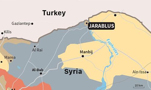 Vị trí thị trấn Jarablus, Syria. Đồ họa: Daily Sabah.
