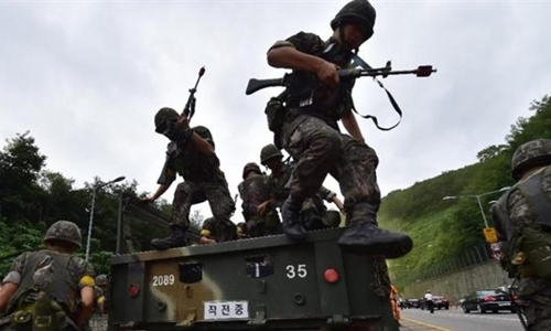 Các binh sỹ Mỹ tham gia cuộc tập trận Người bảo vệ tự do Ulchi ở Paju, phía Bắc Seoul ngày 22/8. Nguồn: EPA