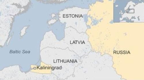 Vị trí các nước Baltic và Nga. Đồ họa: BBC.