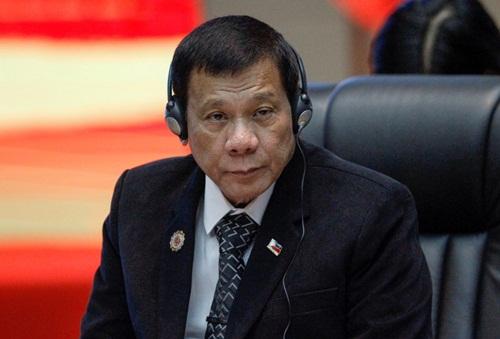 Tổng thống Philippines Rodrigo Duterte tại hội nghị hôm qua. Ảnh: Reuters