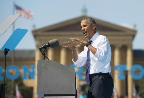 Ông Obama hôm 13/9 phát biểu trong chiến dịch vận động tranh cử của bà Clinton ở