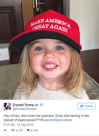 DonaldTrump Jr chia sẻ hình ảnh con gái và công kích bà Hillary Clinton. Ảnh: Twitter