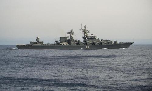 Soái hạm Varyag của hải quân Nga. Ảnh: AP