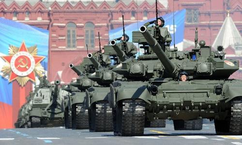 Xe tăng T-90 diễu binh tại Quảng trường Đỏ, Moscow. Ảnh: AFP