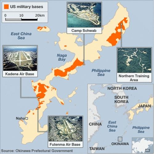 Vị trí các căn cứ, doanh trại huấn luyện của Mỹ ở Okinawa, Nhật Bản. Đồ họa: BBC.