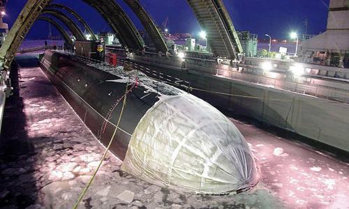 Tàu ngầmVladimir Monomakh trong quá trình thử nghiệm. Ảnh: Sputnik