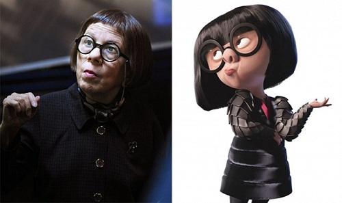 Nhà thiết kế lập dị Edna trong Gia đình siêu nhân ngoài đời có chiều cao vượt trội hơn hẳn.