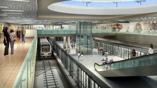 Phối cảnh khu mua sắm ngầm và nhà ga trung tâm Bến Thành của tuyến metro số 1. Ảnh: Ban quan đường sắt đô thị TP HCM.