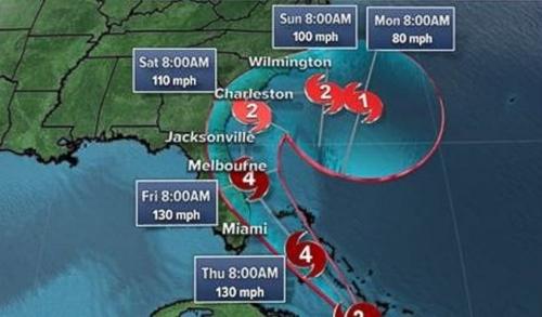 Đường đi dự kiến của bão Matthew. Đồ họa: ABC News.