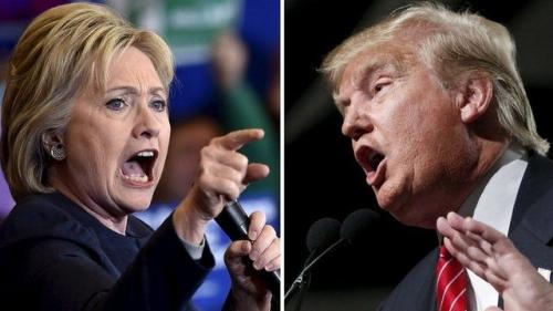 Ứng viên tổng thống Mỹ đảng Dân chủ Hillary Clinton và đối thủ thuộc đảng Cộng hoà Donald Trump. Ảnh: