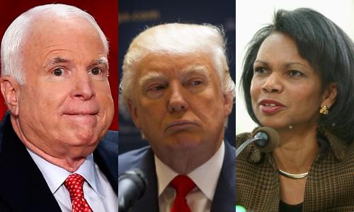 Thượng nghị sĩ John McCain, ứng viên tổng thống Mỹ đảng Cộng hoà Donald Trump, cựu ngoại trưởng Condoleeza Rice. Ảnh: Reuters, AP