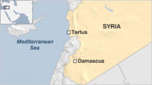 Vị trí thành phố cảng Tartus, Syria. Đồ hoạ: BBC