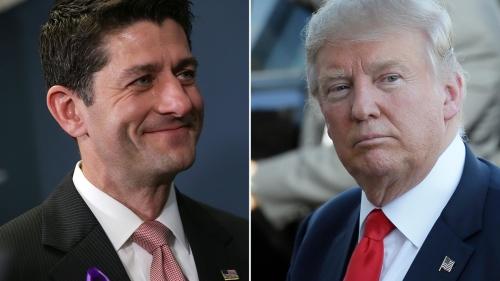 Chủ tịch Hạ viện Paul Ryan và ứng viên tổng thống Mỹ đảng Cộng hoà Donald Trump. Ảnh: