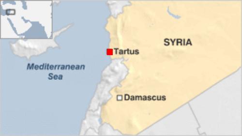 : Vị trí thành phố cảng Tartus, Syria. Đồ hoạ: BBC.