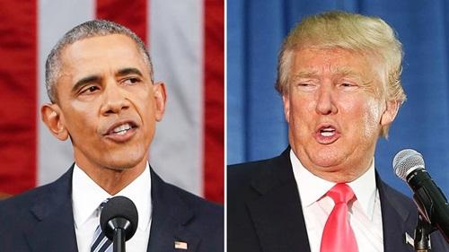 Tổng thống Mỹ Barack Obama và ứng viên tổng thống đảng Cộng hòa Donald Trump. Ảnh:
