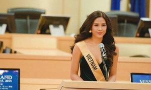 Nguyễn Thị Loan giới thiệu bản thân tại Miss Grand International