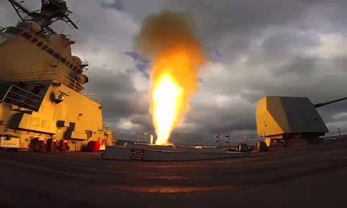Tàu USS Mason phóng tên lửa trong cuộc tập trận hồi tháng 3. Ảnh: US Navy.