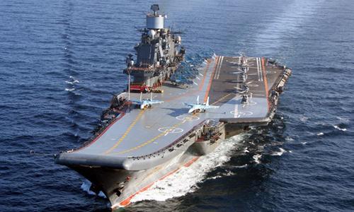 Tàu sân bay Đô đốc Kunetsov của hạm đội Phương Bắc Nga. Ảnh: TASS.