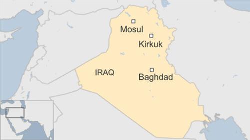 Vị trí thành phố Kirkuk, Iraq. Đồ họa: BBC.