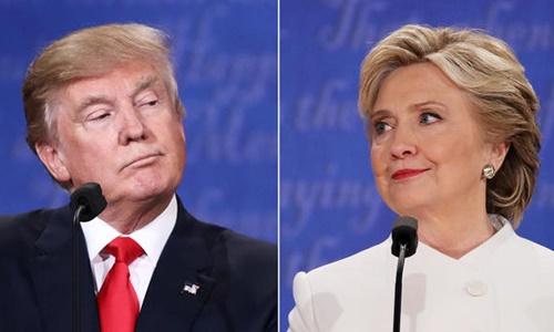 Ứng viên tổng thống Donald Trump, đảng Cộng hòa (trái), và Hillary Clinton, đảng Dân chủ. Ảnh: CBS News/AFP.
