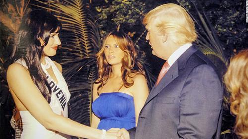 Natasa Pinozagặp ông Trump vàbà Melaniatại một bữa tiệc sau cuộc thiMiss Universe năm 2006 vàingày
