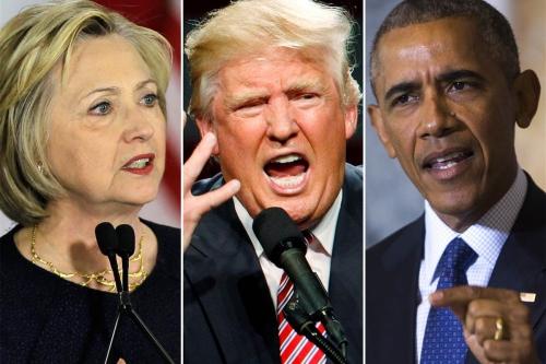 Ứng viên tổng thống đảng Dân chủ Hillary Clinton, đảng Cộng hoà Donald Trump và Tổng thống Mỹ Barack Obama. Ảnh:
