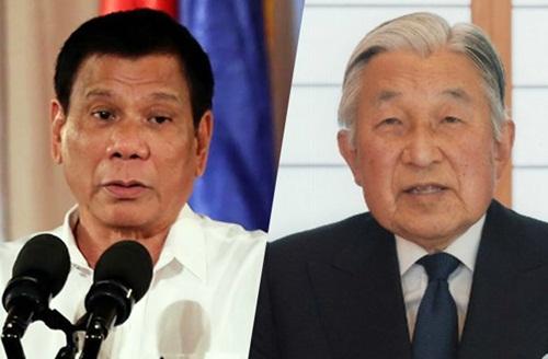 Tổng thống Philippines Rodrigo Duterte và Nhật hoàng Akihito. Ảnh: AFP