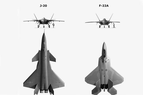 J-20 có kích thước lớn hơn đáng kể so với F-22 Mỹ. Đồ họa: Pinterest