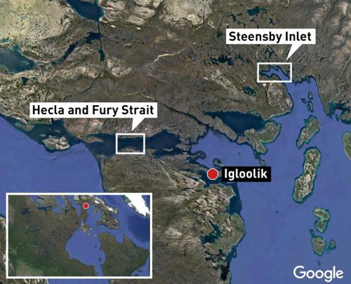 Vị trí eo biển Fury và Hecla. Đồ họa: ABC