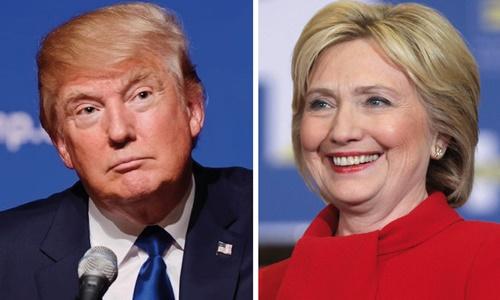 Donald Trump (trái) và Hillary Clinton. Ảnh: KQED News.