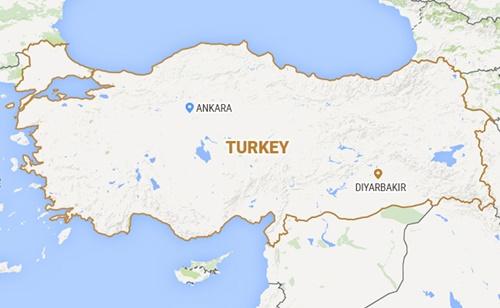 Vị trí Diyarbakir. Thổ Nhĩ Kỳ. Đồ họa: NDTV.