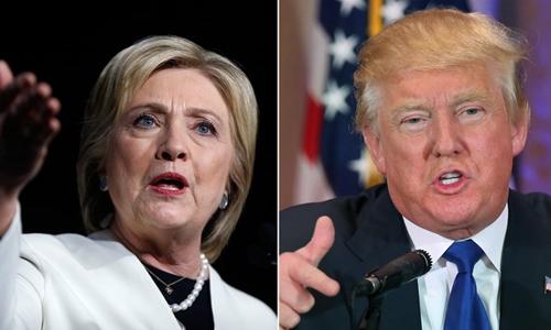 Bà Clinton và ông Trump đang chạy đua nước rút trong cuộc bầu cử tổng thống Mỹ. Ảnh minh họa: AP.