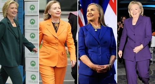 Bà Clinton trong các bộ âu phục màu sắc. Ảnh: Politico