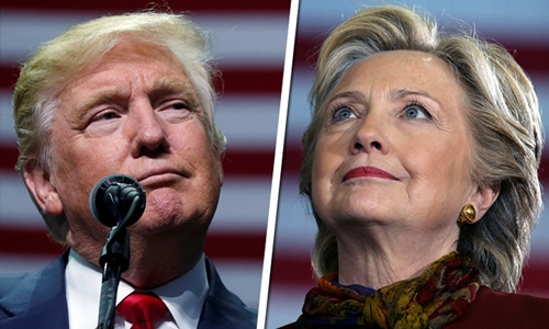 Ông Trump và bà Clinton chạy đua quyết liệt trong ngày cuối cùng của chiến dịch tranh cử. Ảnh: ABS-CBN News.