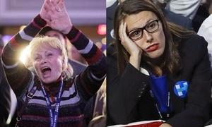 Người ủng hộ khóc cười cùng Trump và Clinton