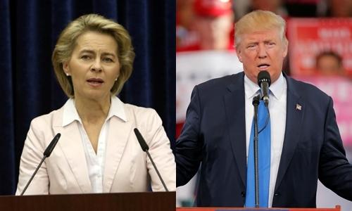 Bộ trưởng Quốc phòng Đức Ursula von der Leyen (trái) và tổng thống Mỹ đắc cử Donald Trump. Ảnh: Reuters.