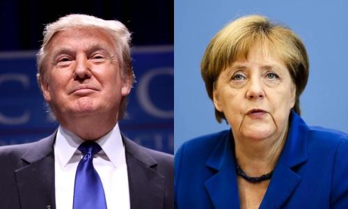 Tổng thống Mỹ mới đắc cử Donald Trump và Thủ tướng Đức Angela Merkel. Ảnh: