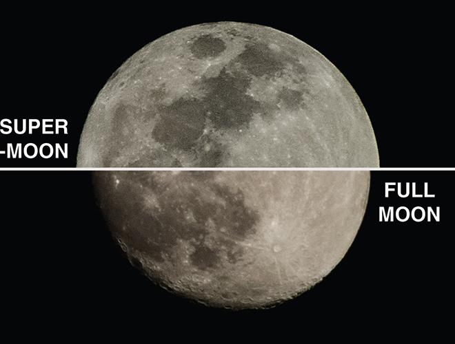Ảnh so sánh giữa siêu trăng và mặt trăng bình thường