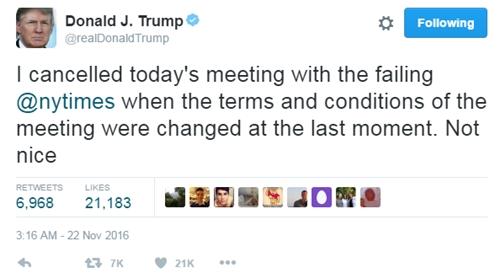 Donald Trump thống báo hủy hẹn với New York Times trên Twitter cá nhân. Ảnh: CNN.
