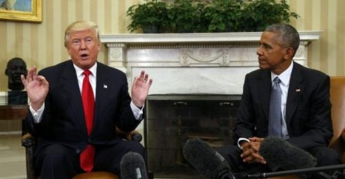 Tổng thống Mỹ đắc cử Donald Trump và Tổng thống Barack Obama gặp nhau tại Nhà Trắng. Ảnh: Reuters