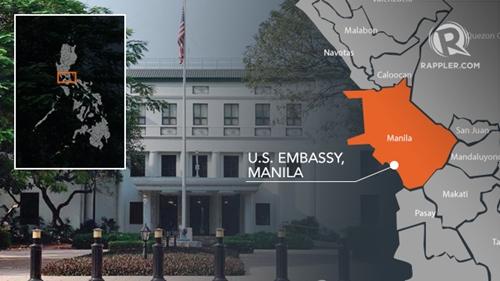 Vị trí đại sứ quán Mỹ ở Manila, Philippines. Đồ họa: Rappler.