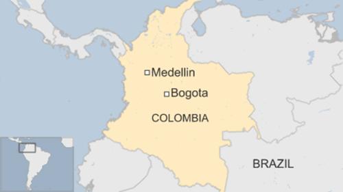Vị trí thành phố Medellin, Columbia. Đồ họa: BBC.