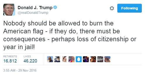 Donald Trump đề xuất bỏ tù hoặc tước quyền công dân đối với người đốt cờ Mỹ. Ảnh: CNN/Twitter.