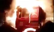 Xe container bốc cháy ngùn ngụt ở Hải Phòng