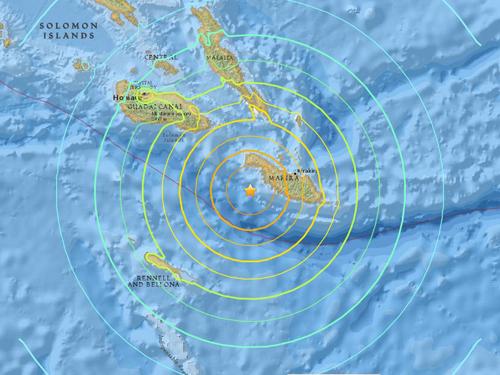 Vị trí xảy ra động đấtở ngoài khơi đảo quốc Solomon, nam Thái Bình Dương sáng sớm nay. Ảnh:USGS