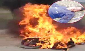 Trộm chó bị dân đánh bất tỉnh và đốt xe máy